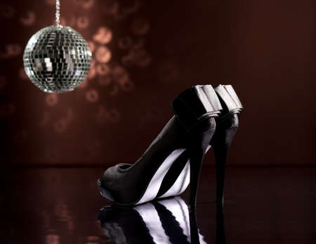 Beautiful black stilettos on the dance floor Stock Photo - 18635010