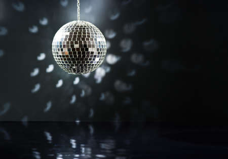 Mirrorball over the dance floor Stock Photo
