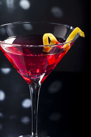 aperitif: cosmopolitan on the disco dance floor Stock Photo