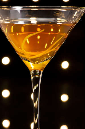sweet vermouth: Manhattan cocktail over black and bright sparkles