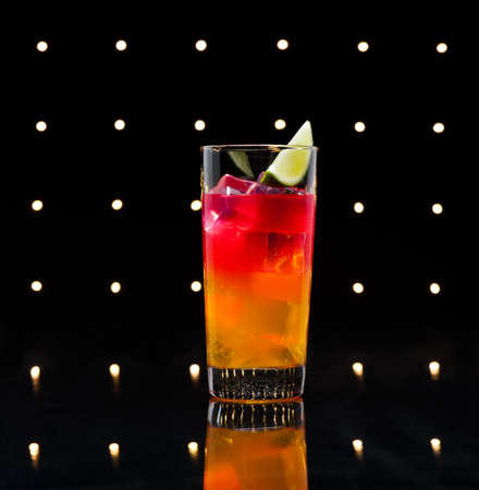 maraschino: Tequila sunrise, the story about the drink says that it was first served in Cancun and Acapulco in the 1950s. After a brief surge in 70s discos, it lost much of its glory.
