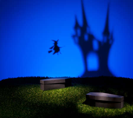 Witch flies home to her scary and mystical castle photo