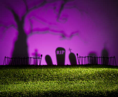horrific: Halloween colorful landscape with tree and graveyard