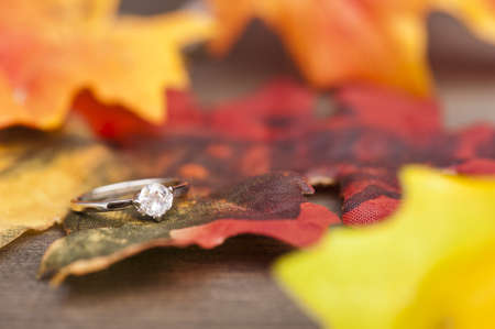 Diamond Engagement ring in festive autumn decoration photo