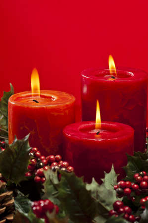 burning time: Advent wreath with burning candles for the pre Christmas time