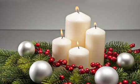 advent wreath: Advent wreath with burning candles for the pre Christmas time