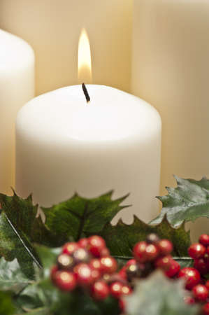Advent wreath with burning candles for the pre Christmas time photo