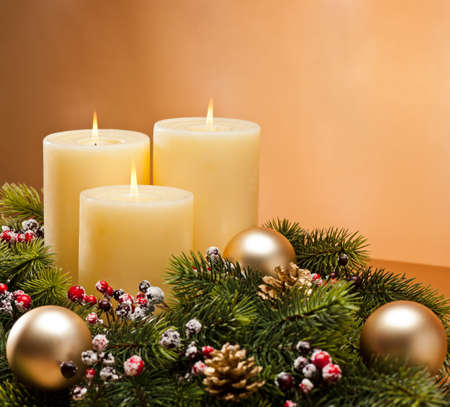 advent time: Advent wreath with burning candles for the pre Christmas time