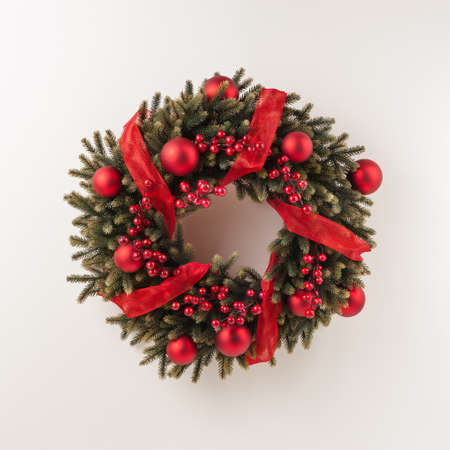 Advent Christmas wreath for door decoration over white