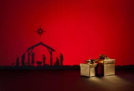child jesus: Birth Jesus silhouette of the crib in Bethlehem