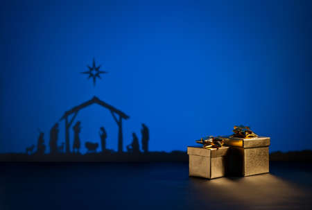 baby christmas: Birth Jesus silhouette of the crib in Bethlehem