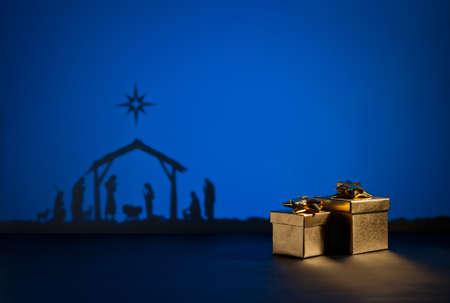 Narození Ježíše silueta postýlky v Betlémě Reklamní fotografie