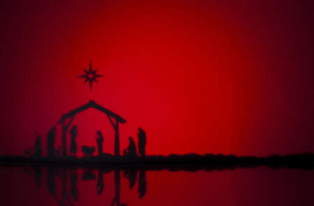 Birth Jesus silhouette of the crib in Bethlehem