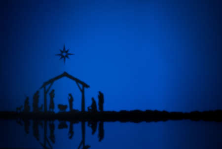 Birth Jesus silhouette of the crib in Bethlehem photo