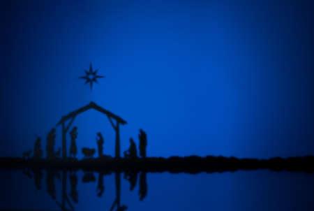 Narodziny Jezusa sylwetka szopki w Betlejem Zdjęcie Seryjne