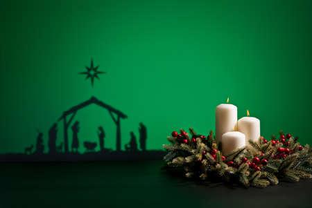advent: Geboorte Jezus silhouet van de kribbe in Bethlehem