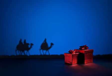 Three wise men on the way to Jesus in Bethlehem