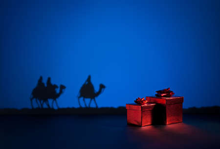 three presents: Three wise men on the way to Jesus in Bethlehem