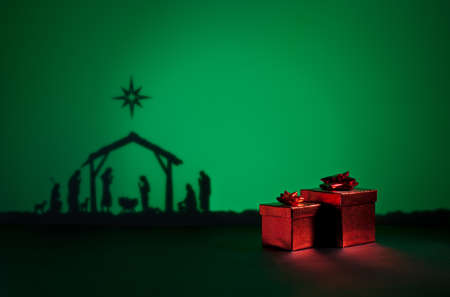 bethlehem crib: Birth Jesus silhouette of the crib in Bethlehem