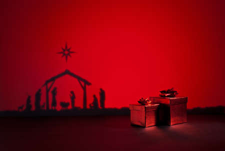 nacimiento de jesus: Nacimiento de Jesús silueta de la cuna de Belén