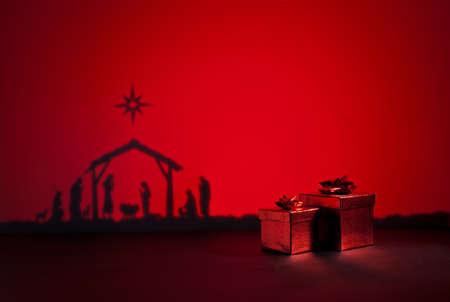 nascita di gesu: Nascita Gesù silhouette del presepe di Betlemme