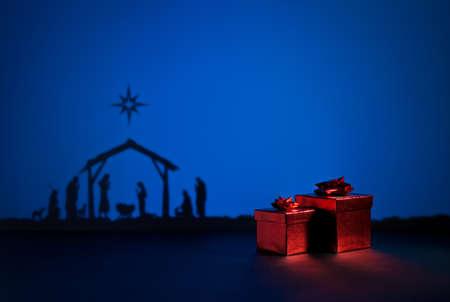 bethlehem crib: Birth Jesus silhouette of the crib in Bethlehem with present