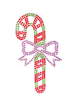 candy stick: Candy stick made of rhinestones red, green, over white