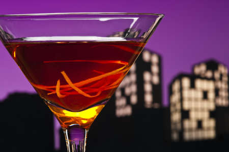 A Manhattan is a cocktail made with whiskey, sweet vermouth, and bitters. Whiskeys used are rye (the traditional choice), Canadian whisky, bourbon, blended whiskey and Tennessee whiskey. photo