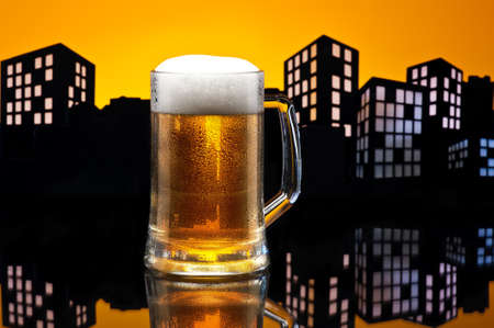 pilsener: Metropolis lager beer  in color skyline setting