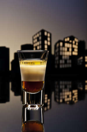 baileys: B52 shot in colorfull cityscape setting