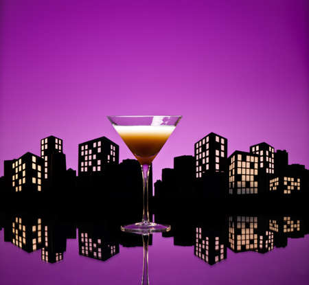 Metropolis Coffee Martini cocktail in skyline setting photo