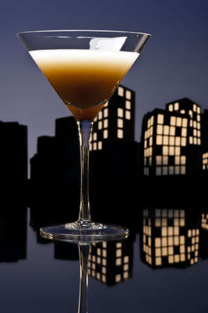baileys: Metropolis coffee  cocktail in city skyline setting
