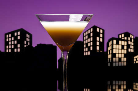 Metropolis coffee  cocktail in city skyline setting photo