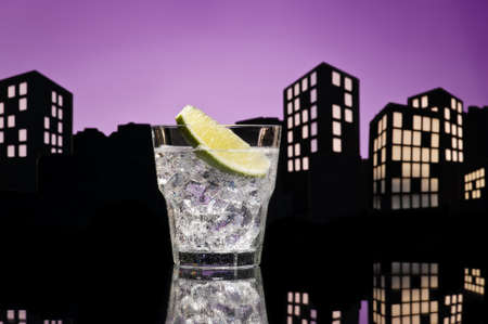 Metropolis Gin Tonic cocktail cocktail in city skyline setting photo