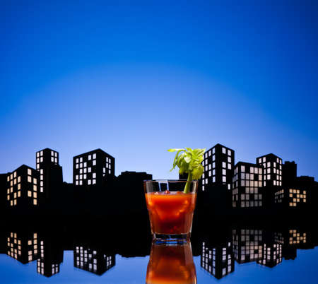 tomato cocktail: Metropolis Bloody Mary cocktail in city skyline setting