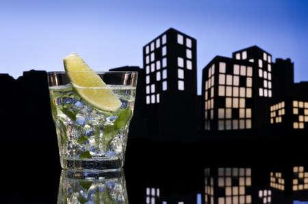 Metropolis Mojito cocktail in city skyline setting photo