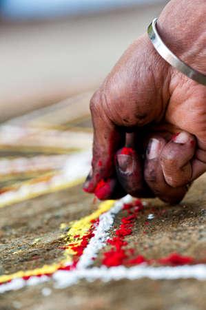 sri yantra: Human Hand does a Yantra, Nepal