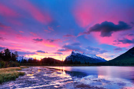 banff national park: Sunset above Vermilion Lakes, Banff National Park, Canada