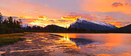banff: Sunset above Vermilion Lakes, Banff National Park, Canada