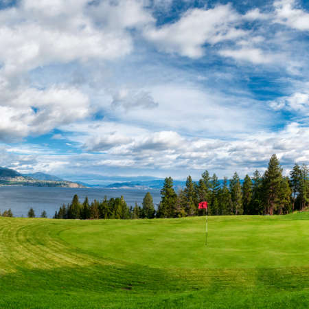 Golf Tee at Kelowna Lakeshore Road Okanagan Valley BC Canada photo