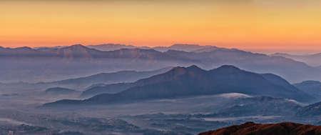 kathmandu: himalayan mountains view from Mt. Shivapuri, Shivapuri Nagarjun National Park Stock Photo