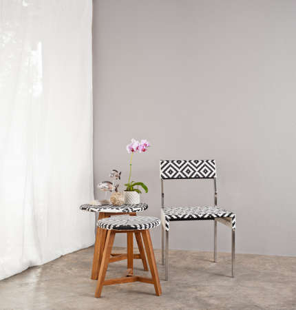 Checkered board garden furniture with small table  photo
