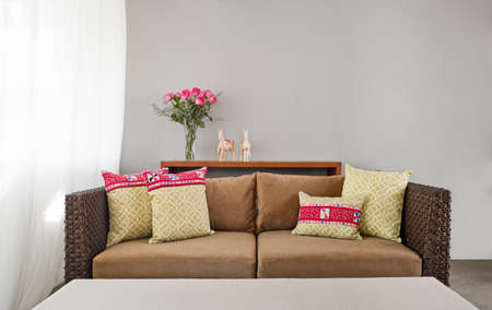 Beige brown sofa in luxurious interior setting