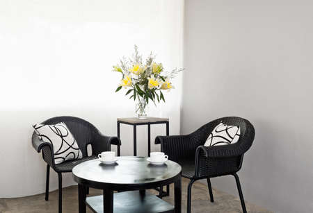 Garden furniture chairs in simple setting and coffee table photo