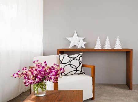 Bright sofa seat in grey bright setting