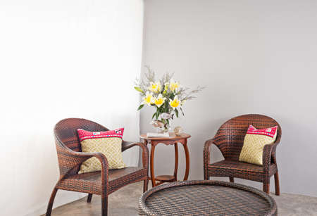 rattan: Garden furniture with table in lounge area