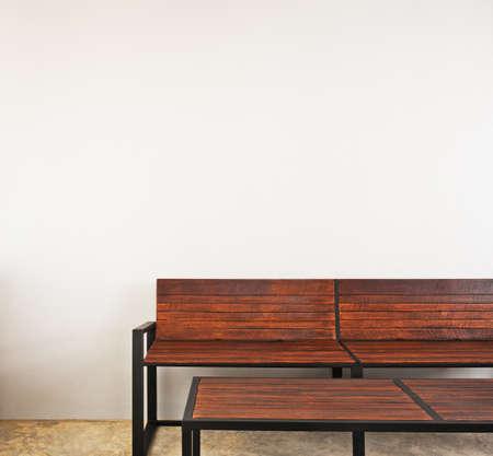 Garden bench as interior furniture brown in color photo