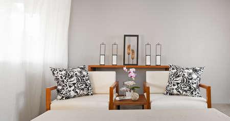 Bright white wooden sofa seat in luxury interior decoration photo