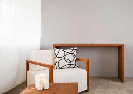 white comfortable sofa seat with interior design items photo