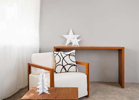 interior design: white comfortable sofa seat with interior design items